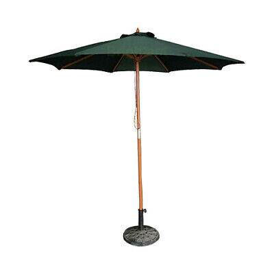 2.4 M Wood Wooden Garden Parasol Patio Market Umbrella Canopy Sun Shade WU24D