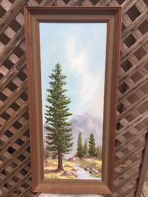 vintage oil painting framed of mountain forest scene by Vivian Smith 34 x 16 x 3