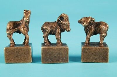 3 Vintage Chinese Bronze Statues Seal Solid Horses Sheep Cattle Collec