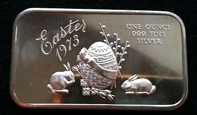 "1973 Easter ""Bunnies and Easter Egg"" 1 Troy OZ .999 Fine Silver Art Bar"