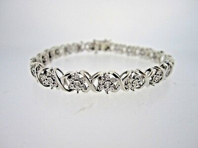 """* .925 Sterling Silver 7 3/4"""" Long 25 Point Diamond X And O Style Bracelet 1/4Ct"""