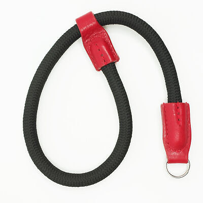Black Nylon Rope & Red Leather Camera Wrist Strap - Ring Connection - Cam-in