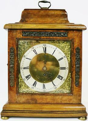 Antique 18thc English Walnut Bell Top Single Fusee 8 Day Bracket Clock