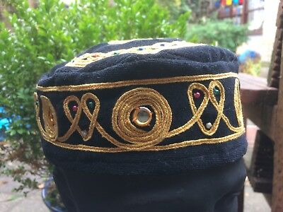 Vintage Smoking Cap size 59 or 7 1/4 in velvet with brocade beads and mirrors