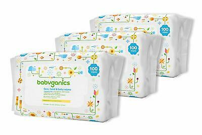 Babyganics Face, Hand & Baby Wipes, Fragrance Free, 300 Count (Contains Three)