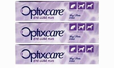OptixCare Eye Lube Plus + Hyaluron 20g For Dog Cat Horses, Pack Of 3 Pet