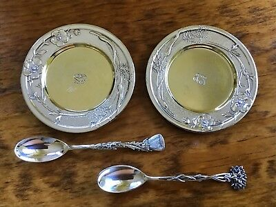 Victorian Tiffany & Co Vine Rose Sterling Silver 2 Small Dishes 2 Floral Spoons