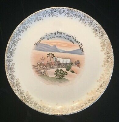 Knotts Berry Farm And Ghost Town Vintage Collectible Plate With Gold