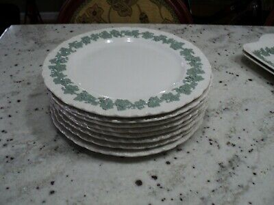 Wedgwood Queensware Shell Edge Celadon Green On Cream Embossed 8) Dinner Plates