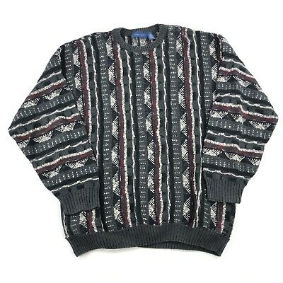 3d07bccb2927a Vintage 90s COOGI Style Sweater Towncraft Mens Size Large Vertical Stripes