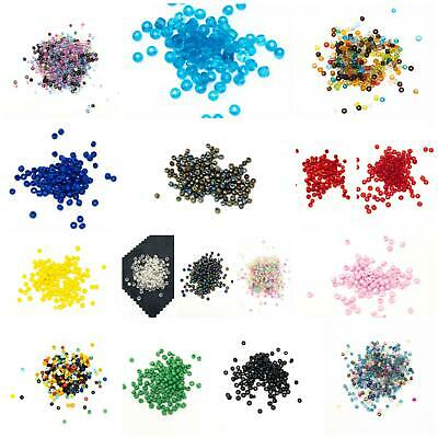 50g 2mm Size 11/0 Glass Seed Beads-Over 3000 Beads. Wide Choice Of Colours/Finis