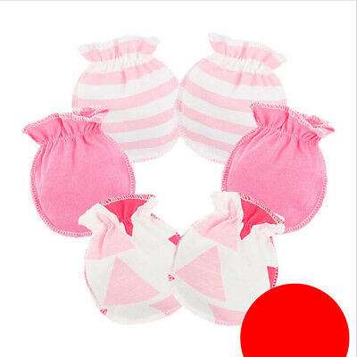 3 pairs Soft Cotton Anti-scratch Handguard Newborn Unisex Mitten Gloves RU