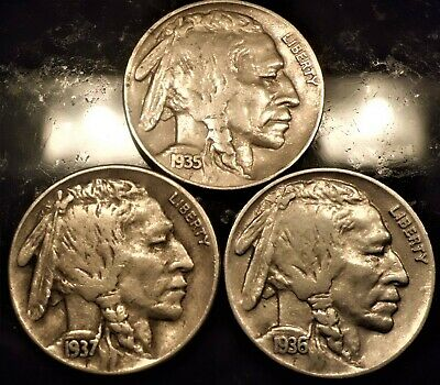 Set Of 1936,1937, 1935-S Buffalo Nickels Vf