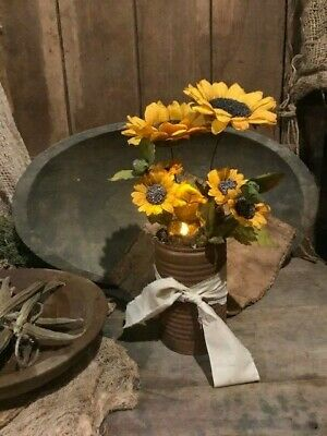 Primitive Country Sunflowers Candle Rusty Can Candle Homestead Cupboard Tuck