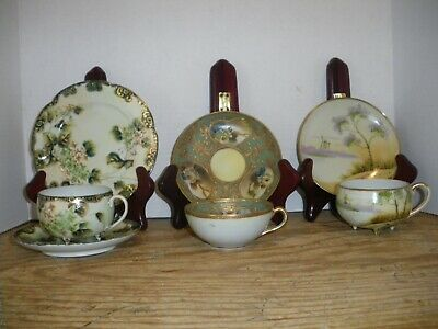 Vintage Three Sets Cups Saucers Plate Flowers Gold Trim Handpainted Footed