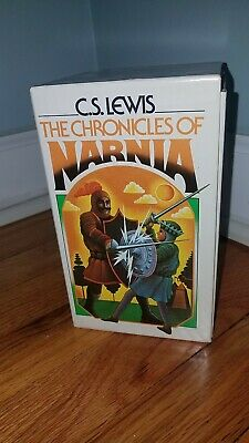 The Chronicles of Narnia 7 Volume VINTAGE BOX SET by C.S. Lewis Collier RARE VG