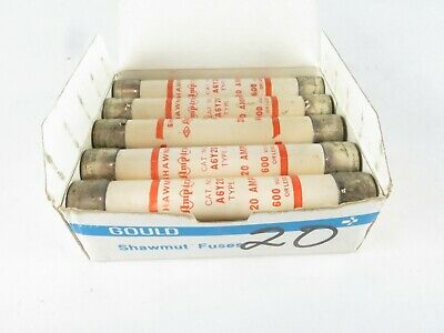 New Box Of 10 Gould Shawmut A6Y20 Amp Trap 20A Fuse 600V Type 1