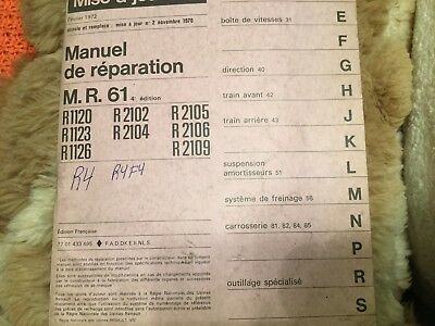 Manuel De Reparation Officiel Mr 61  Renault R4 R1120  R1223  R1226 R2106 1970