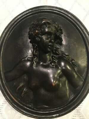 1 of 2 Antique bronze nude young bacchanterelief plaque signed Clodion19th