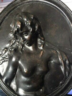 1of 2 Antique bronze nude young bacchante relief plaque signed Clodion 19th
