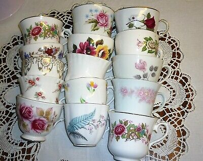 Lot of 10 Vintage Pretty Mismatched China Tea Cups great for Weddings, Tearooms