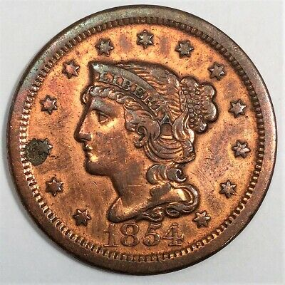 1854 Braided Hair Large Cent Beautiful High Grade Coin