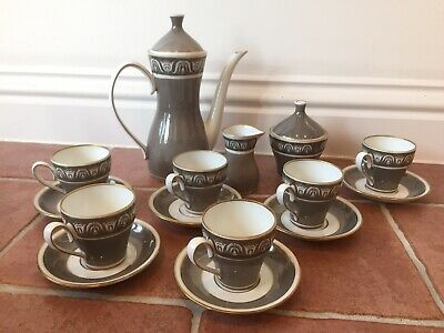 Vintage Grey And White Bone China Coffee Set For 6, Made In Germany