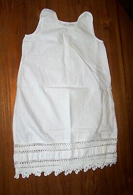 Vintage Childs Girls slip petticoat cotton linen Edwardian crocheted