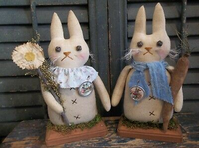 Pair of Primitive Handmade Bunnies on Wood Bases - Easter/Spring Decoration