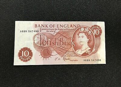 Bank of England Ten Shilling Note 1966- 70 Signed J. S. Fforde