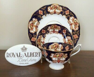 ROYAL ALBERT HEIRLOOM Trio Set ~ Footed Cup & Saucer Salad Plate
