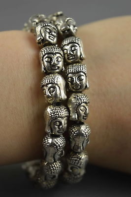 Chinese Collectable Miao Silver Carve Mighty Buddha Head Tibet Usable Bracelet