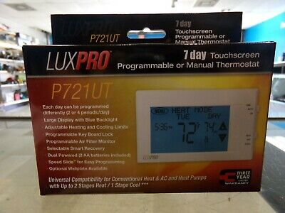 LuxPro 7 Day Programmable Touchscreen Thermostat, P721UT BRAND NEW
