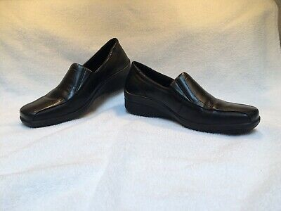 bcb330bc28d Ecco Womens Loafers Shoes Light Leather Shock Point Slip On Black Size 37  EUC