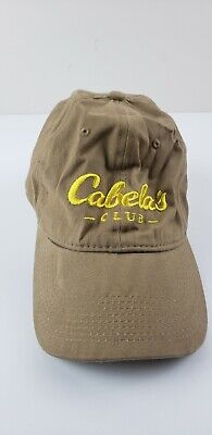 e6196468c826f Cabelas Baseball Cap Brown Adjustable Hat Embroidered Yellow Logo Strapback  OSFA