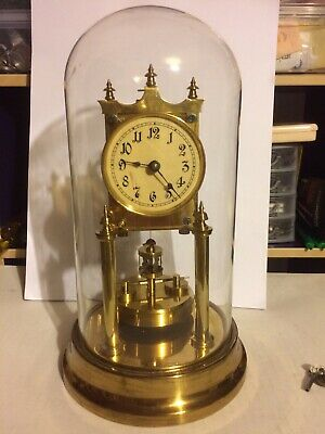 Early 1900 German 400-Day Anniversary Clock in Glass Dome With Keys Working