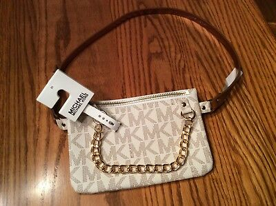 41b5b3a616cef9 Michael Kors Belt Bag MK Signature Logo Fanny Pack Size Medium Vanilla