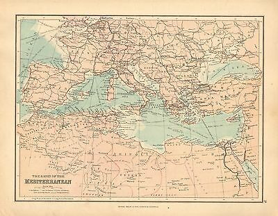 1902 MAP ~ BASIN OF THE MEDITERRANEAN SHOWING STEAMSHIPS ROUTES ITALY TUNIS etc