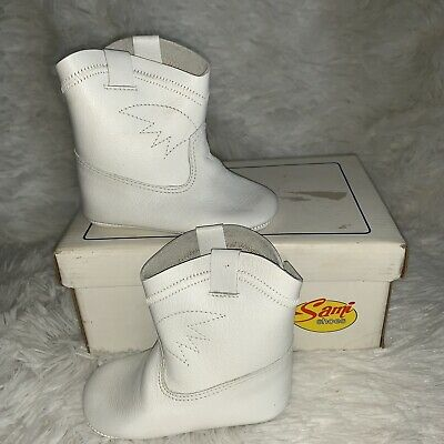 New Vintage Sami White Leather Baby Shoes Boots Size 3 Rare! Only pair on Ebay