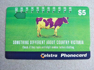 Used 11 Hole $5 Telephone Number Changes Country Victoria Phonecard Prefix 1187