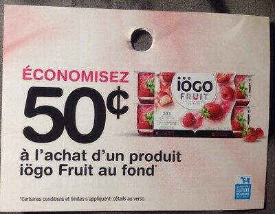 Lot of 22 x 0.50$ IOGO Fruit On The Bottom Products Coupons Canada