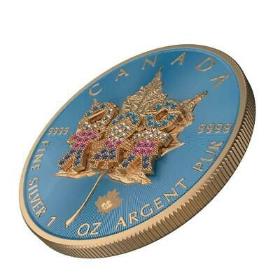 """Canada 2019 5$ """"Maple Leaf - Family Day №43"""" 1 Oz Bejeweled Silver Coin 500pcs"""