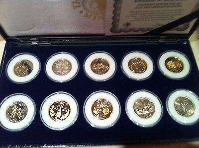 1999-2000: First 10 Gold Quarters,(10) Ten State Quarters Dollars,24Kt Plated