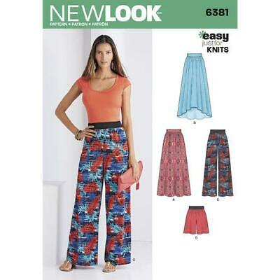 New Look Sewing Pattern 6381 Misses Ladies Knit Skirts Pants Shorts Size 8-20 UC