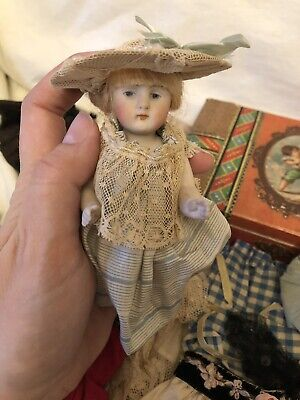 "Antique Kestner 6"" All Bisque Doll W Original Extensive Child Made Wardrobe"