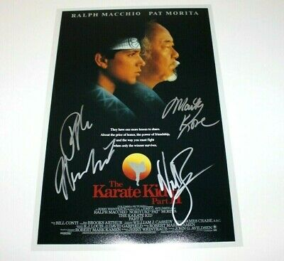 The Karate Kid Part Ii Cast Signed Movie Poster Ralph Macchio Martin Kove Zabka