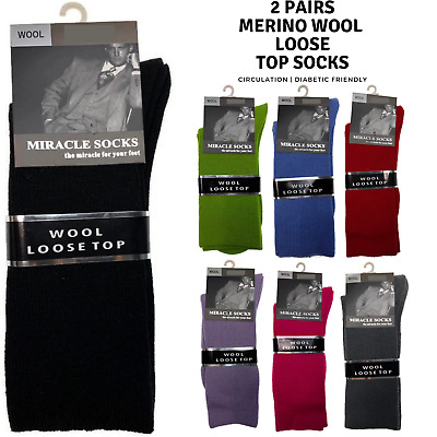 2x Pairs MERINO WOOL Rich LOOSE TOP SOCKS Dress Medical Circulation