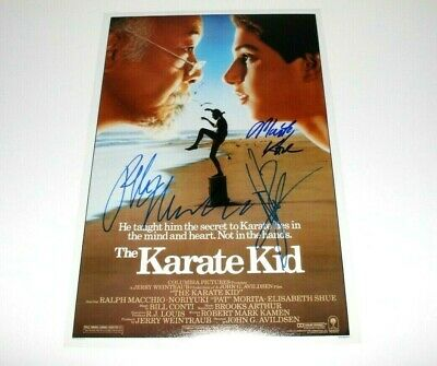 The Karate Kid Cast Signed Movie Poster Coa Ralph Macchio Martin Kove Zabka