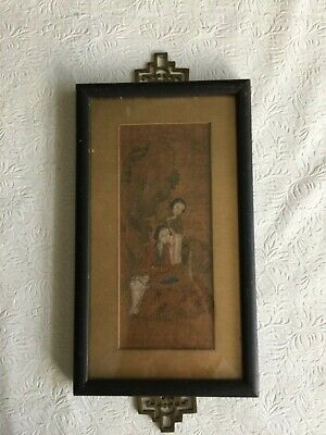 """Chinese antique framed watercolor painting on silk H10.25"""" W 6"""""""