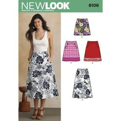 New Look Sewing Pattern 6106 Misses Ladies Skirts Pockets Size 10-22 Uncut